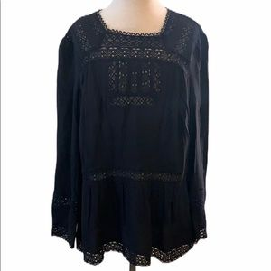 NWT J. Crew Point Sur Black Lacey Long Sleeve Top